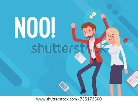 Noo. Business demotivation poster. Marketing mistakes, financial miscalculation, no target market and potential clients, employee turnover. Vector flat style cartoon illustration on blue background