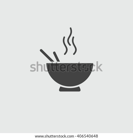 Noodles in the bowl vector sign illustration icon symbol simple soup image, logo. The bowl of  noodles.