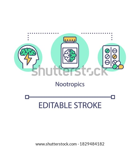 Nootropics concept icon. Biohacking idea thin line illustration. Nutritional supplements and substances for cognitive functions improvement. Vector isolated outline RGB color drawing. Editable stroke Photo stock ©