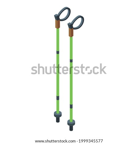 Nord walking sticks icon. Isometric of Nord walking sticks vector icon for web design isolated on white background Photo stock ©