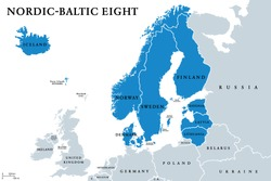 Nordic-Baltic Eight (NB8) member states political map. Regional co-operation format of Denmark, Estonia, Finland, Iceland, Latvia, Lithuania, Norway and Sweden. English labeling. Illustration. Vector.
