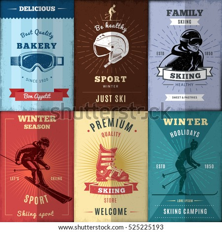 nordic skiing posters set with