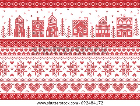 Nordic style and inspired by Scandinavian cross stitch craft Christmas pattern  in red and white including. House pattern background   Download Free Vector Art  Stock