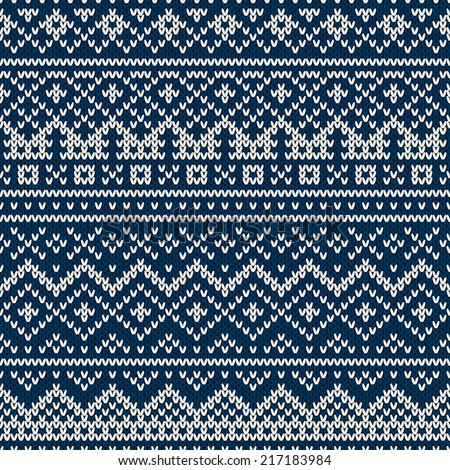 Nordic traditional Fair Isle style seamless pattern on the wool knitted texture