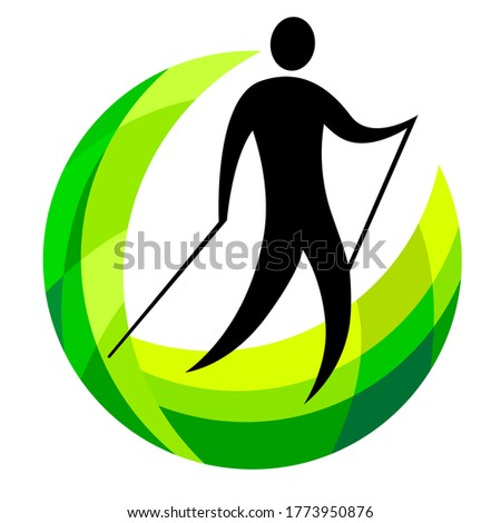 Nordic walking logo with green elements in vector quality.