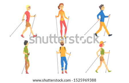Nordic Walking Set, People Outdoor Activity, Healthy Lifestyle, Sport Activities Vector Illustration
