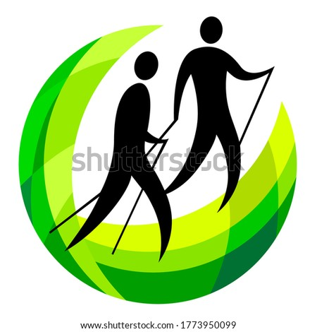 Nordic walking sport graphic in vector quality.