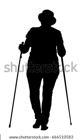 Nordic walking vector silhouette illustration isolated on white background. Senior person hiking outdoor in park. Old lady walking with sticks. Woman walking nordic style with sticks.