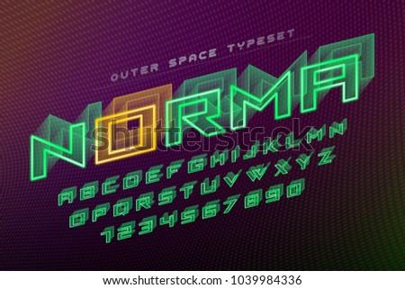 Norma futuristic vector decorative font design, alphabet. Easy Swatch Color control