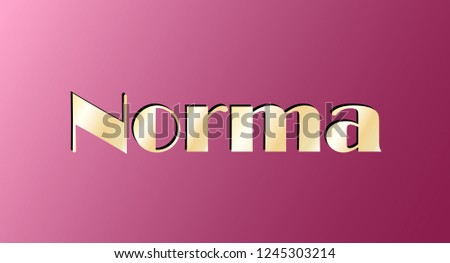 Norma. Gold shining name isolated on pink background. Happy birthday and Angel Day concept. Vector illustration