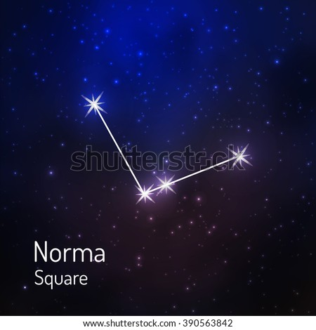 Norma (Square) constellation in the night starry sky. Vector illustration