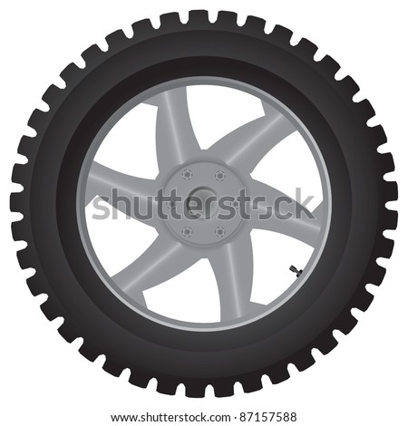 Normal car wheel on a white background - vector illustration