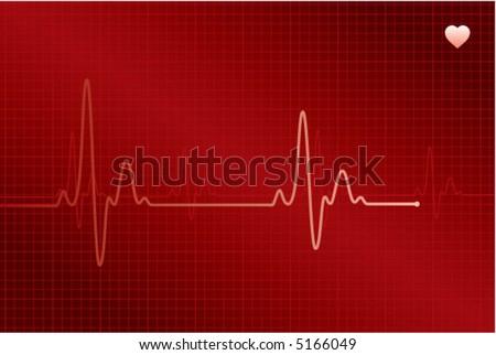 Normal ECG (electronic cardiogram) red