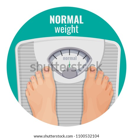 Normal weight human feet on scales isolated on white