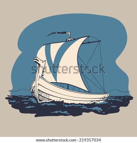 norman drakkar boat traveling