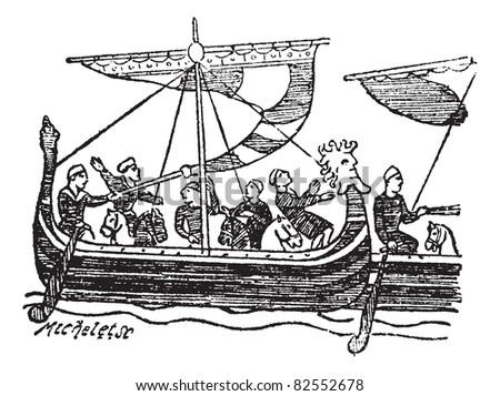 Norman Ship from the Bayeux Tapestry, vintage engraved illustration. Trousset encyclopedia (1886 - 1891).