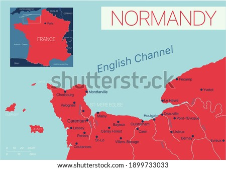 Normandy of France detailed editable map with cities and towns, geographic sites. Vector EPS-10 file