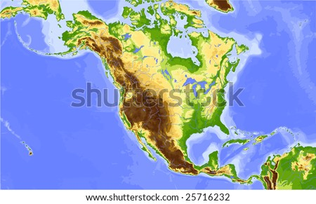 North America and Central America. Physical vector map, colored according to elevation. Surrounding territory greyed out. 24 named layers, fully editable. Data source: NASA