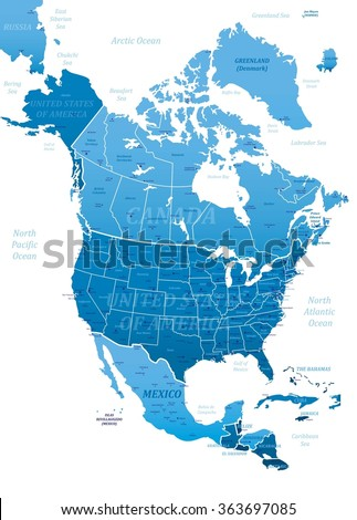 North America Blue Map-Vector Illustration