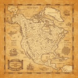 North America continent ancient map with mountain ranges, rivers and lakes names, mythological sea beasts, medieval caravel ship vector. United States of America territory map on aged, old paper
