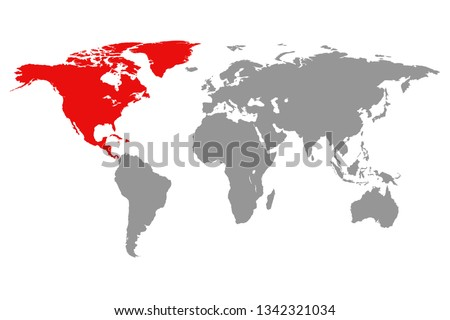 North America continent red marked in grey silhouette of World map. Simple flat vector illustration.