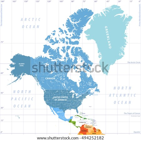 North America high detailed political map. All layers detachable and labeled. Vector