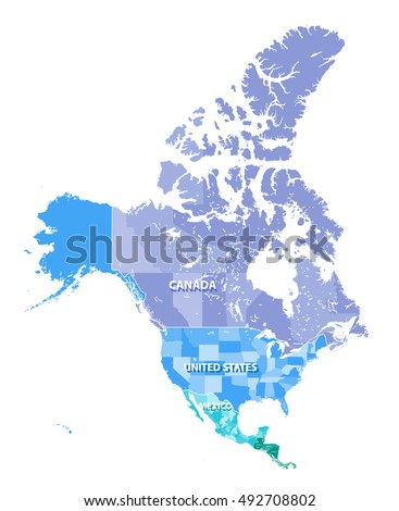 North America high detailed vector map with states borders of Canada, USA and Mexico. All elements separated in detachable layers