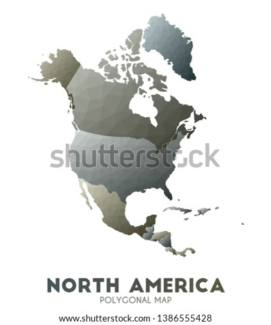 North-america Map. actual low poly style continent map. Positive vector illustration.