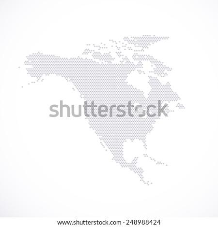 North America Map hexagon . Vector illustration.