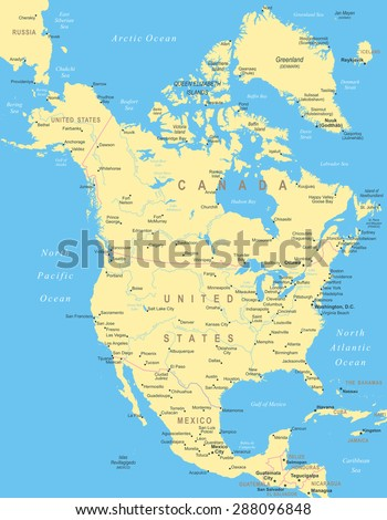North America map - highly detailed vector illustration