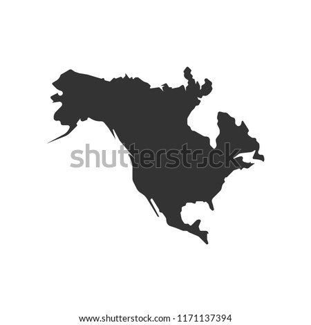 North America map vector icon. Flat design eps10