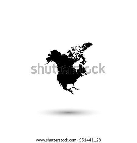 North America map vector icon with round  shadow