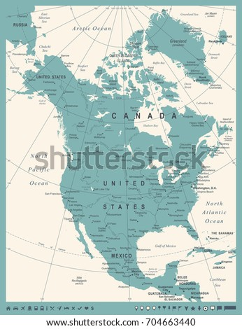 north america map   vintage...