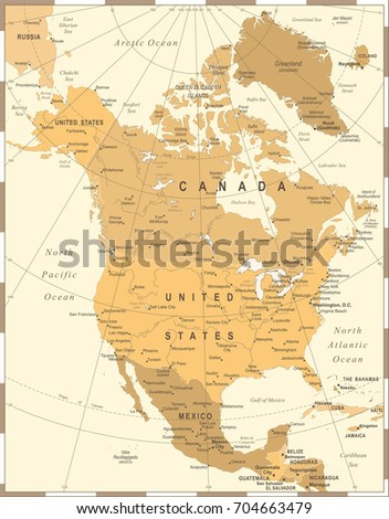 North America Map - Vintage Detailed Vector Illustration