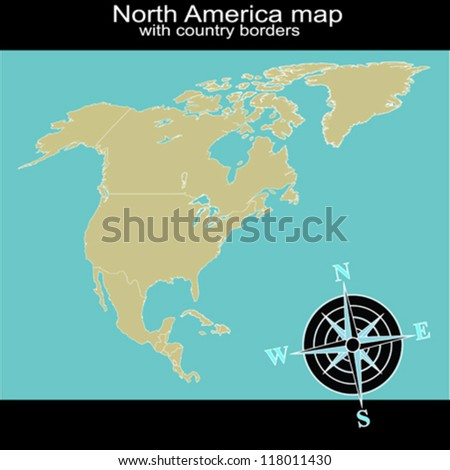 North America map with country borders