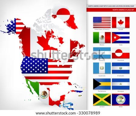 Vector de mapas de continentes del mundo descargue grficos y north america map with flags and location on world map gumiabroncs Choice Image