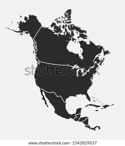 North America map with regions. USA, Canada, Mexico maps. Outline North America map isolated on white background. Vector illustration Сток-фото ©