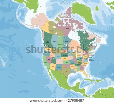 North America Map Vector Download Free Vector Art Stock - Maps of canada and usa