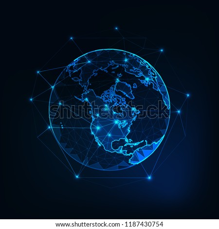North America on Planet Earth view from space with continents outlines abstract background. Globalization, connection concept. Low poly wireframe, lines and dots glowing design. Vector illustration.