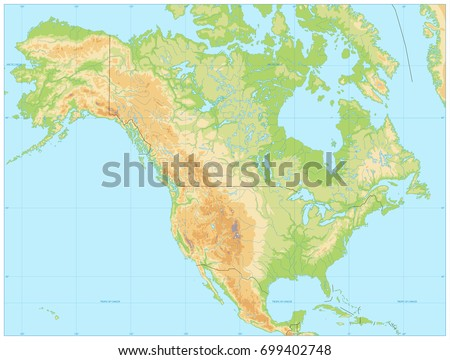 north america physical map. no...