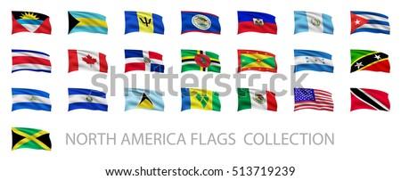 north america waving flags