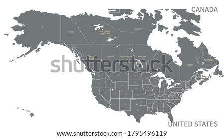 North American Countries Map.  The main boundary map of Canada, the United States.