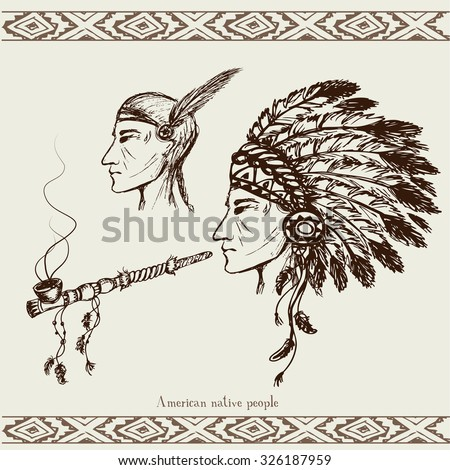 vector images illustrations and cliparts north american indian with peace pipe hand drawn. Black Bedroom Furniture Sets. Home Design Ideas