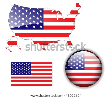 North American USA flag, map and glossy button, vector illustration set.
