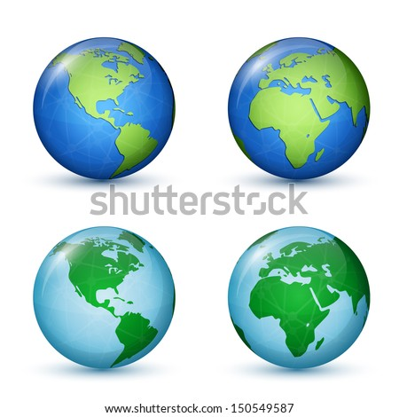 North and South America, Africa and Europe. World Map. Vector illustration