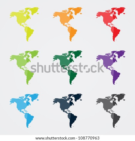 North and South America Map in Different Colors