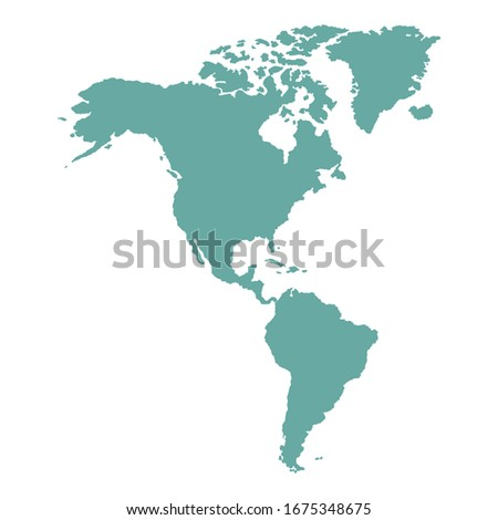 North and South America outline world map, vector illustration isolated on white. Map of North and South America continent.