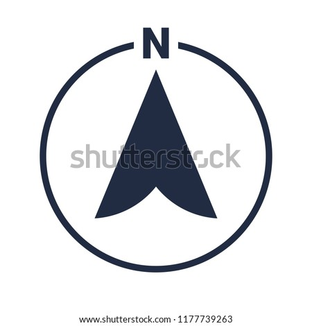 North arrow icon in circle or N direction and navigation point symbol. GPS navigator map vector logo
