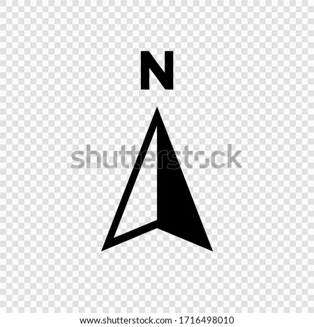 North arrow icon N direction vector point symbol, Isolated on transparent background. Vector EPS 10