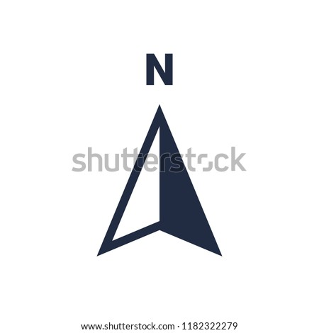 North arrow icon or N direction and navigation point symbol. Vector logo for GPS navigator map isolated on white background